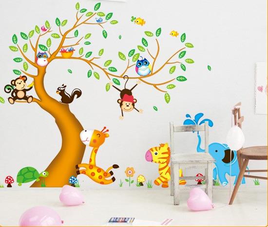 adhesivo decorativo Árbol con animalitos 2 stickers de pared u s
