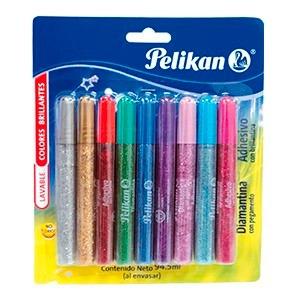 adhesivo glitter  pelikan  blister *9 colores manualidades