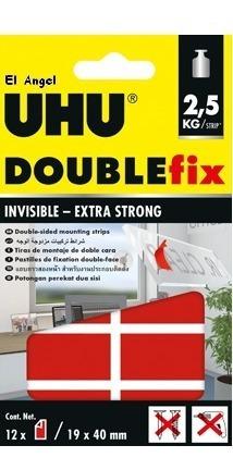 adhesivo uhu doublefix invisible strips doble faz 2.5kg