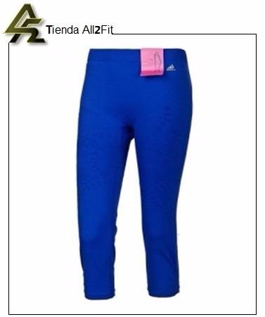 mayor descuento nueva llegada brillo de color adidas Leggings Dama Original Licra Capri Deportivo Azul