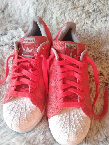 adidas súper star originales rojos con franja reflectiva