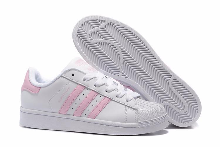 adidas superstar blancas rayas rosas