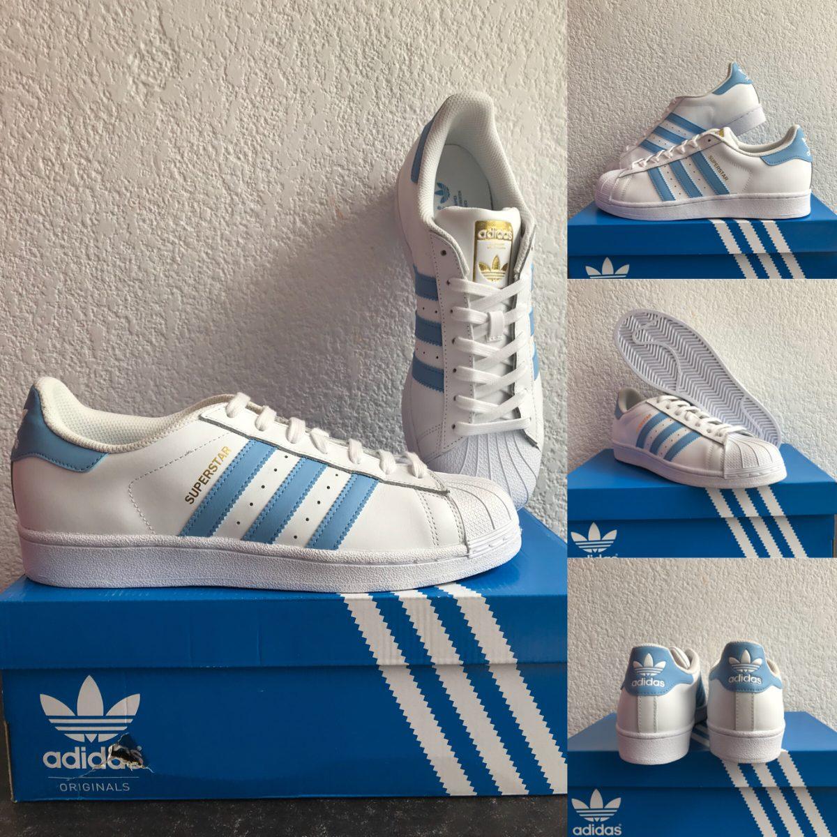 d41b88c0b61 adidas superstar blanco c  líneas azul cielo. talla 6.5. Cargando zoom.