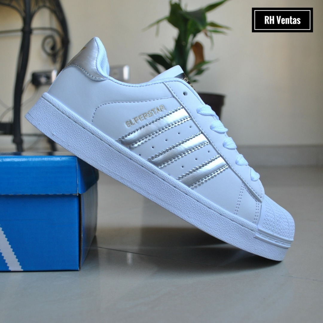adidas superstar blanco plateado