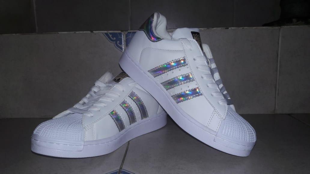 brand new 118d4 7ec76 ... shopping adidas superstar blanco franja tornasol plata envío gratis. cargando  zoom. 6c52f a9960