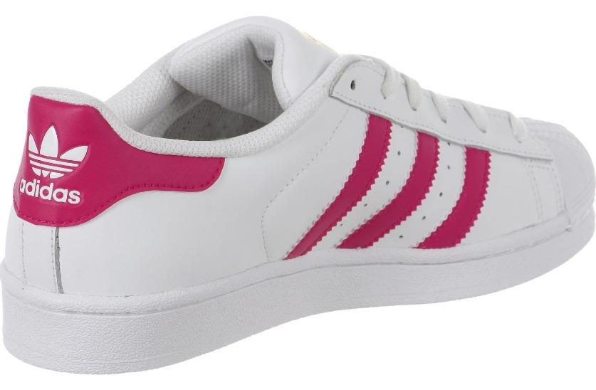 f2a2c413e514e adidas Superstar Branco Com Rosa Importado - Frete Grátis - R  200 ...