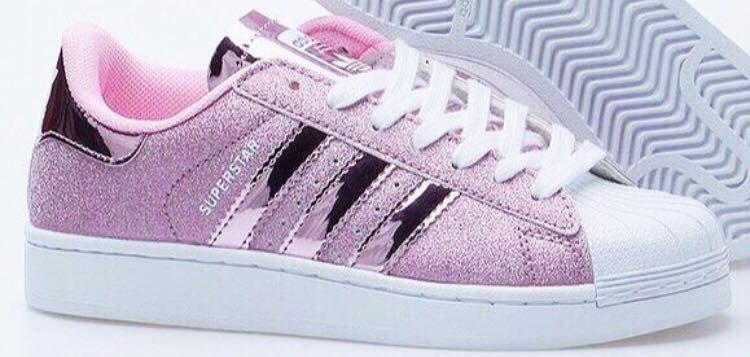 adidas superstar glitter pink