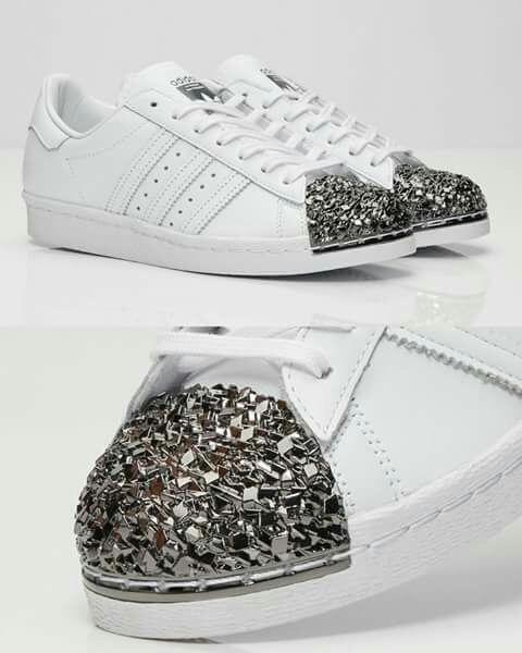 adidas Superstar Glitter Puntera Plateada 100% Originales