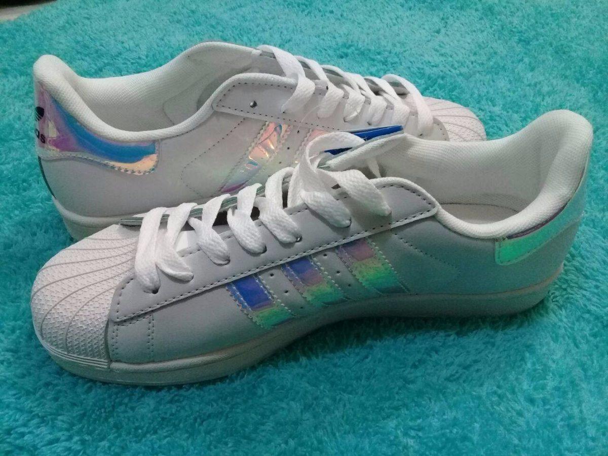 free shipping 0730a c7039 adidas superstar ii women blanco-arcoiris plateado nuevos! Cargando zoom.