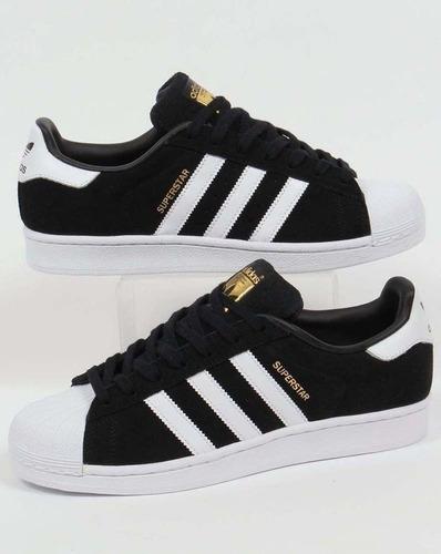 adidas superstar negra  gamuza!! original -vte lopez
