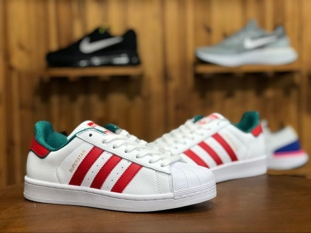 the best attitude 23b43 9ad35 adidas Superstar White/red Green Stripe Bc0198