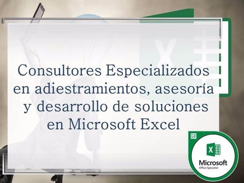 adiestramiento y asesoría en microsoft excel.