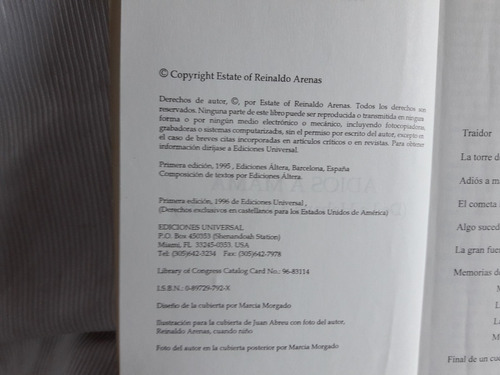 adios a mama reinaldo arenas ediciones universal  1996