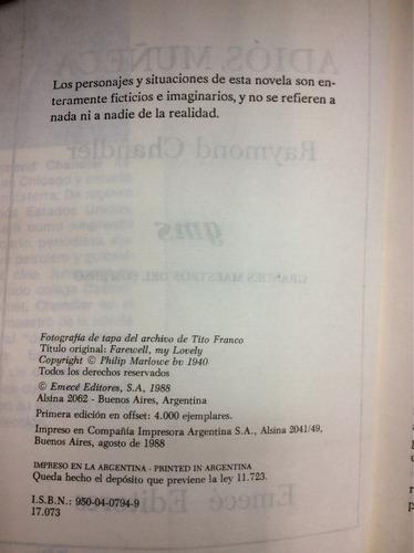 adiós, muñeca - raymond chandler - emecé - 1988 - policial