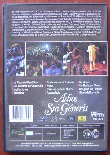 adios sui generis - esmerald dvd original charly garcia nito