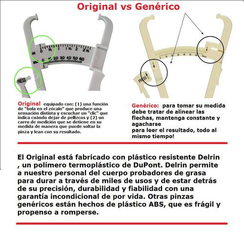 adipometro + cinta metrica retractil - kit color blanco