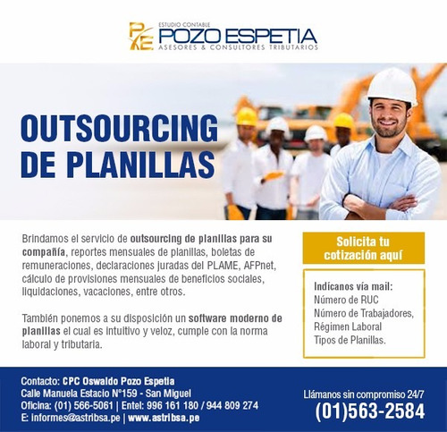 administracion outsourcing planillas,laboral ,plame,mintra