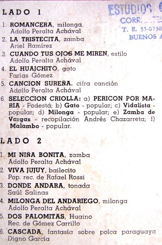 adolfo peralta achaval - una guitarra criolla - lp folklore