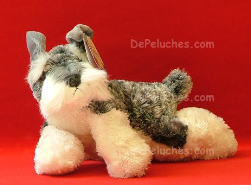 adorable perro schnauzer de peluche marca aurora mediano