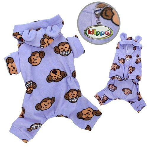 adorable tonto mono paño grueso y suave del perro pijamas /