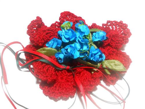 adorno bouquet floral tejido al crochet