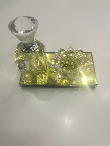 adorno cristal flor jarron