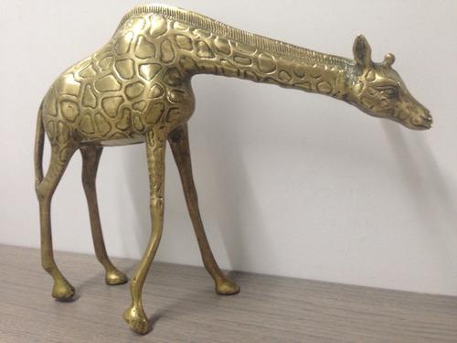 adorno de animales jirafa en bronce excelente estado