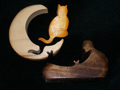 adorno de madera gato en la luna encastrado