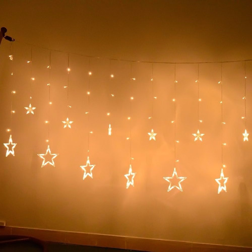 adorno de navidad ucharge star curtain lights, with 12 stars