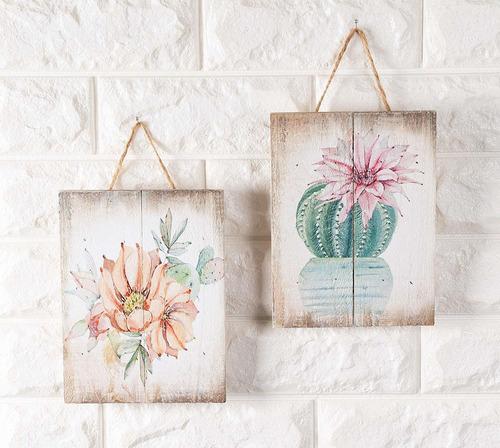 adorno de pared de madera - 4 piezas pequeñas decoracio...