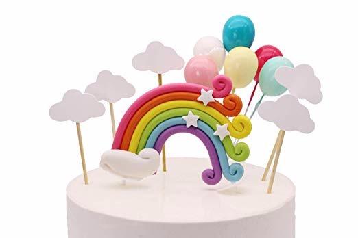 d544d7de4 Adorno De Pastel De Arcoíris Nubes Globos Fiesta Baby Shower ...