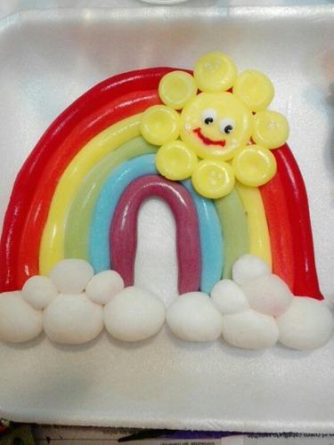 adorno de porcelana fria para torta baby tv tren arcoiris