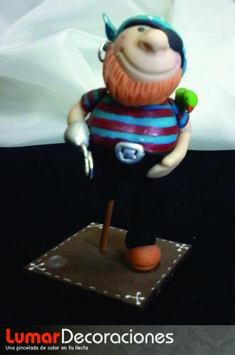 adorno de torta cumpleaños - pirata porcelana fría