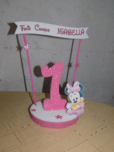 adorno de torta de minnie y mickey bebe