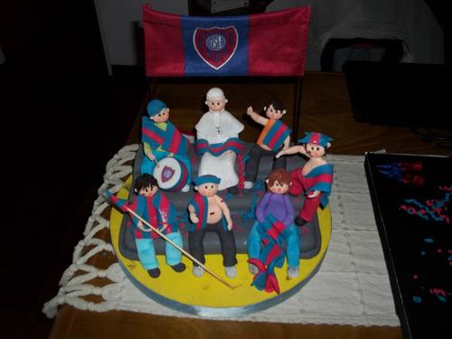 adorno de torta del papa con hinchada san lorenzo de almagro