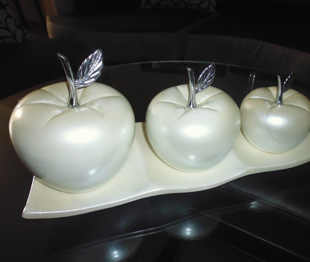 Adorno decorativo manzanas 3 u perla con base ceramica - Ceramica decoracion ...