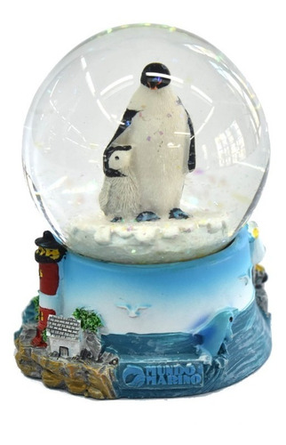 adorno globo pingüino con base de 8,5cm mundo marino