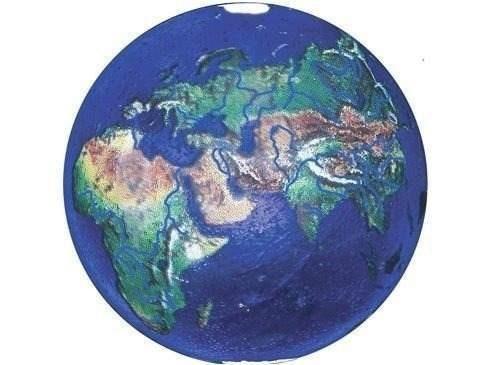 Adorno Marmol Azul De La Tierra Con Continentes Naturales