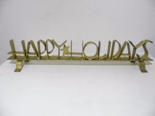adorno metal decorativo happy holidays fierro navidad g711