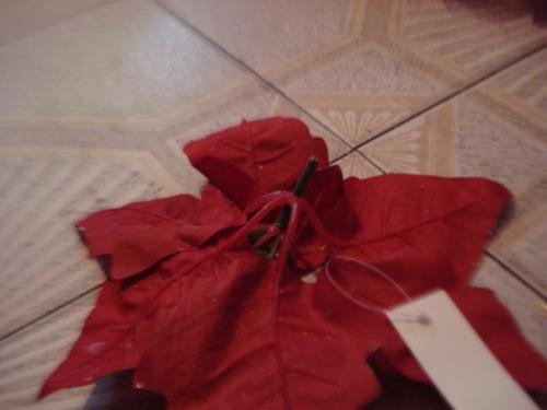 adorno navidad flores grandes plasticas (combo 6 pzas)