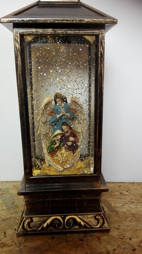 adorno navidad lampara con angel y misterio