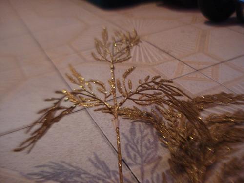 adorno navidad palma o helecho largo dorado (combo 3 pzas)