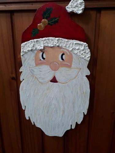 adorno navidad papa noel colgante madera acrilico artesanal