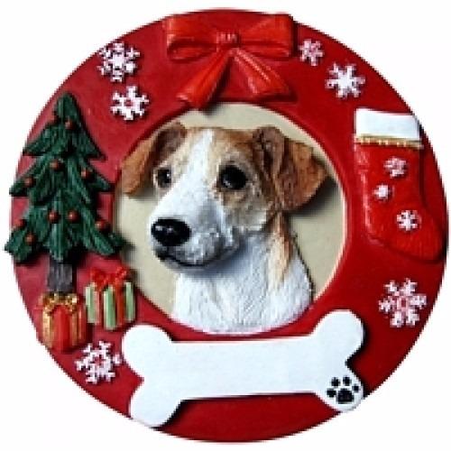 adorno navideño circular jack russell - ceramica - hermoso!