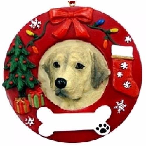 adorno navideño circular labrador dorado - ceramica - hermos