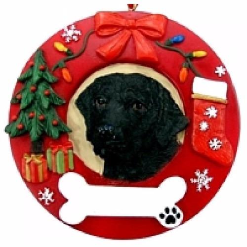 adorno navideño circular labrador negro - ceramica - hermoso