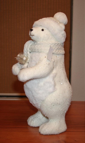 adorno navideño oso polar grande con gorro