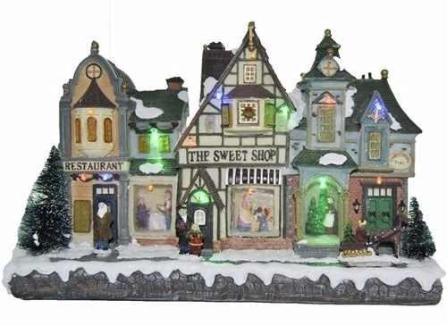 adorno navideño tienda de dulces con luz
