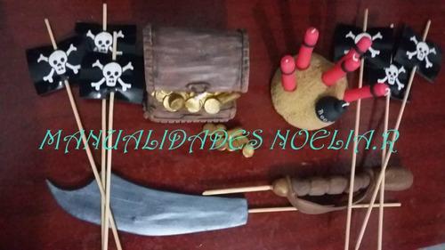 adorno para torta de pirata cofre espada etc porcelana fria