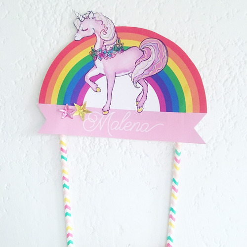 adorno para torta o centro de mesa unicornio